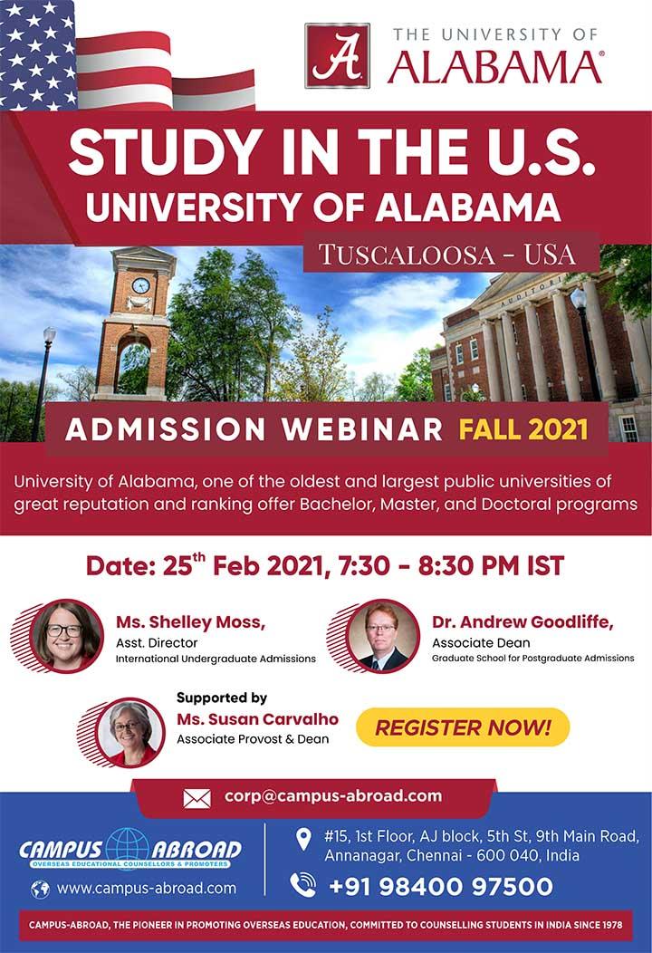 Study in the U.S. - University of Alabama - Admission Webinar - FALL 2021